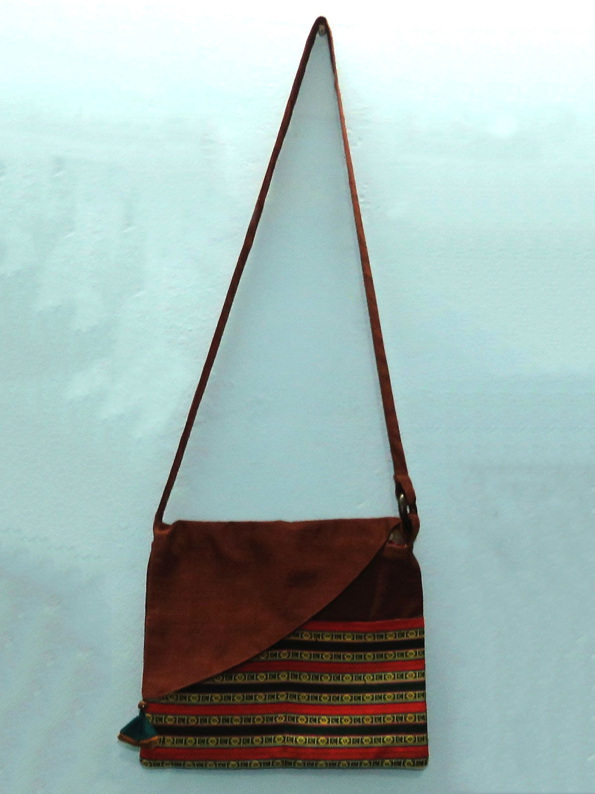 Rust cotton sling bag with patch pocket