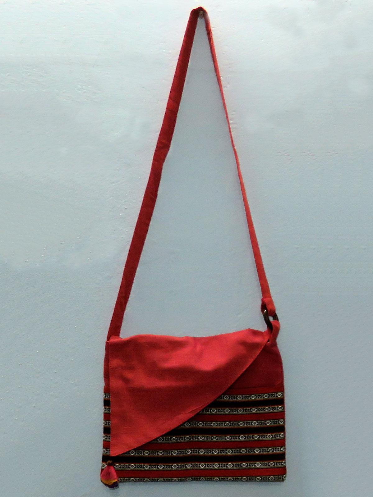 Rose Pink cotton Sling bag with patch pocket