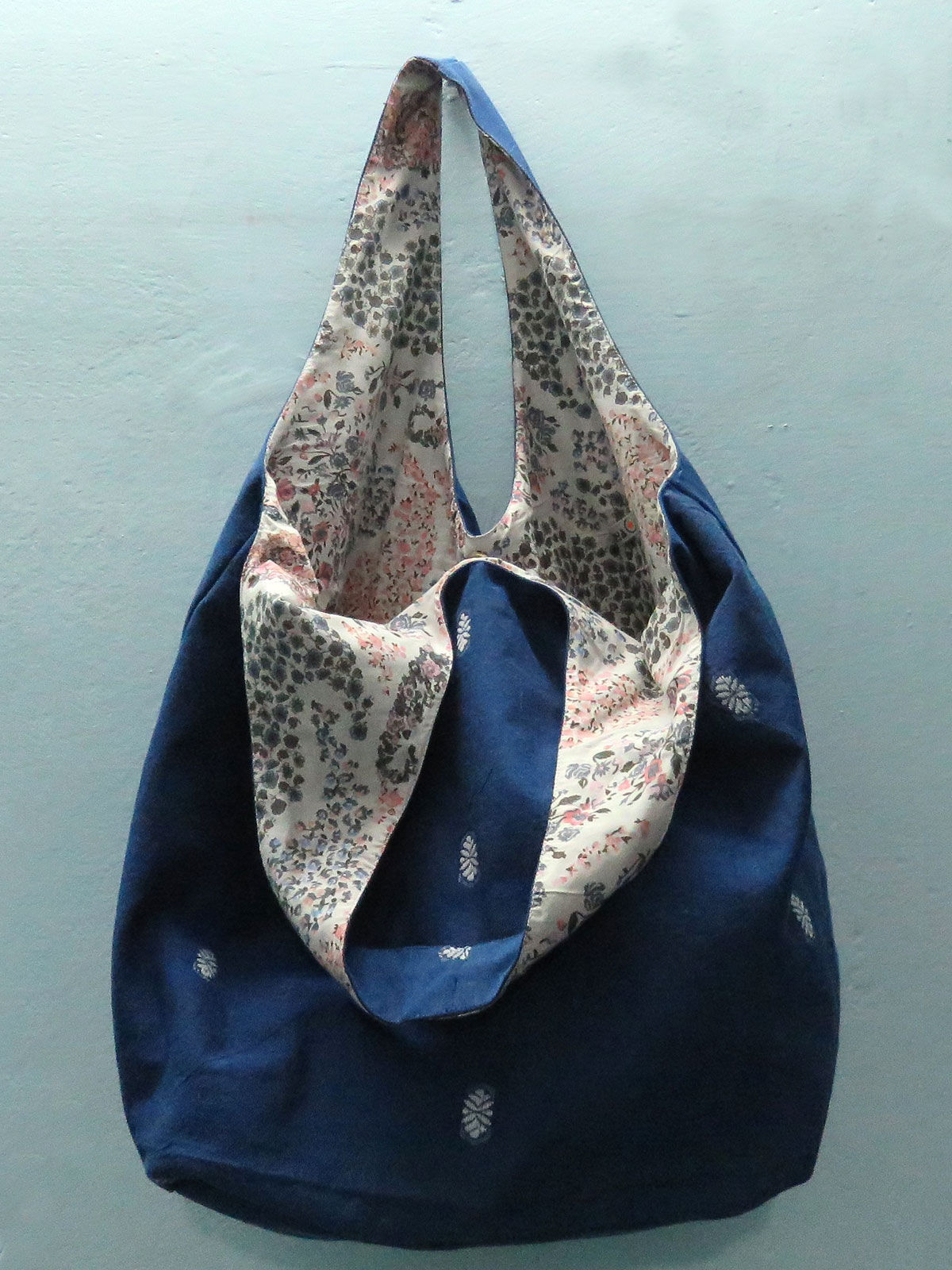 Indigo handwoven Hobo cotton bag