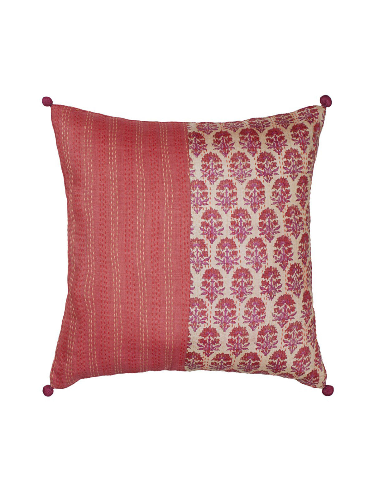 Red Half/Half Kantha Block printed Cushion Cover