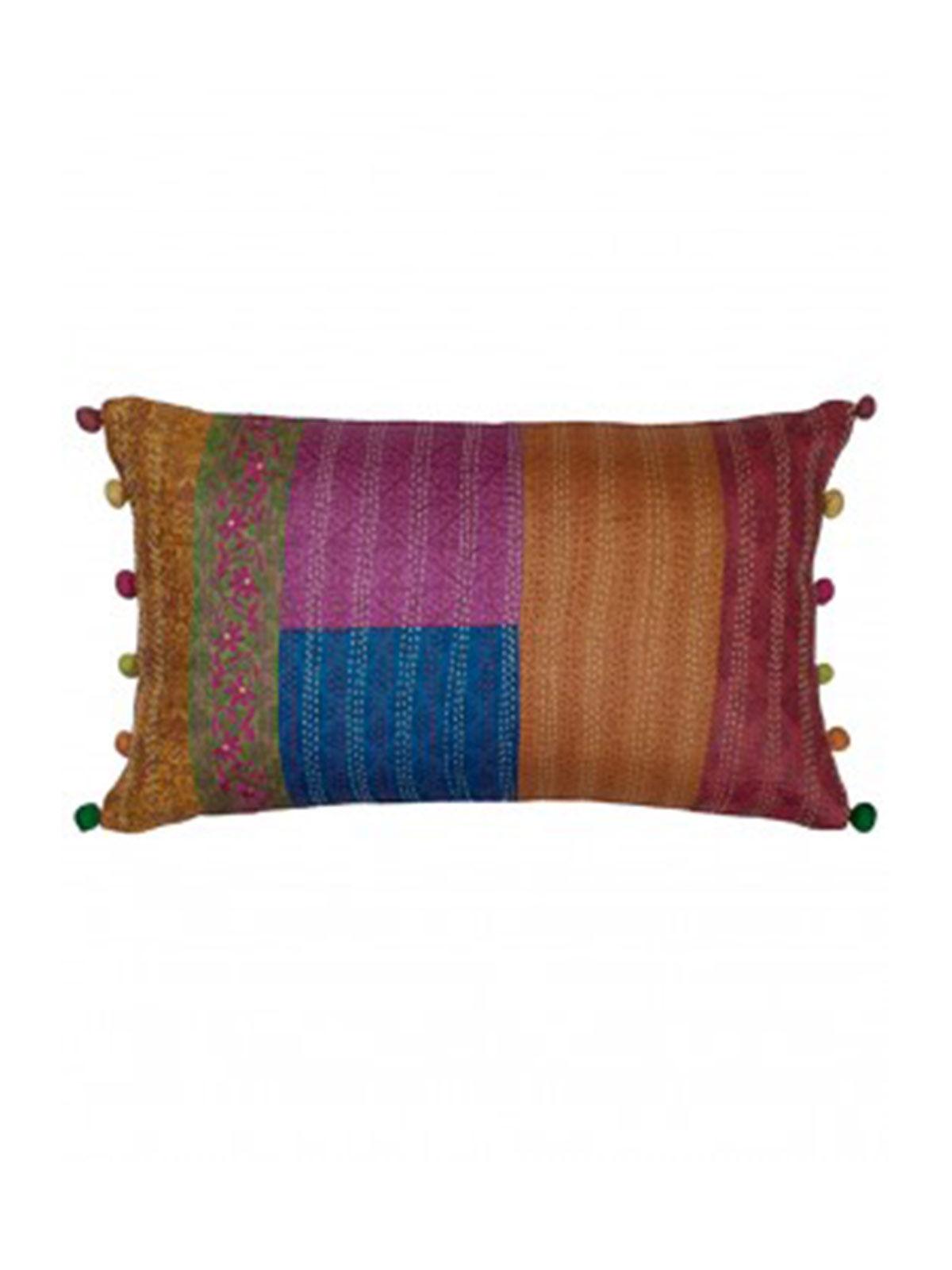 Multicolour Kantha Block printed Cushion Cover