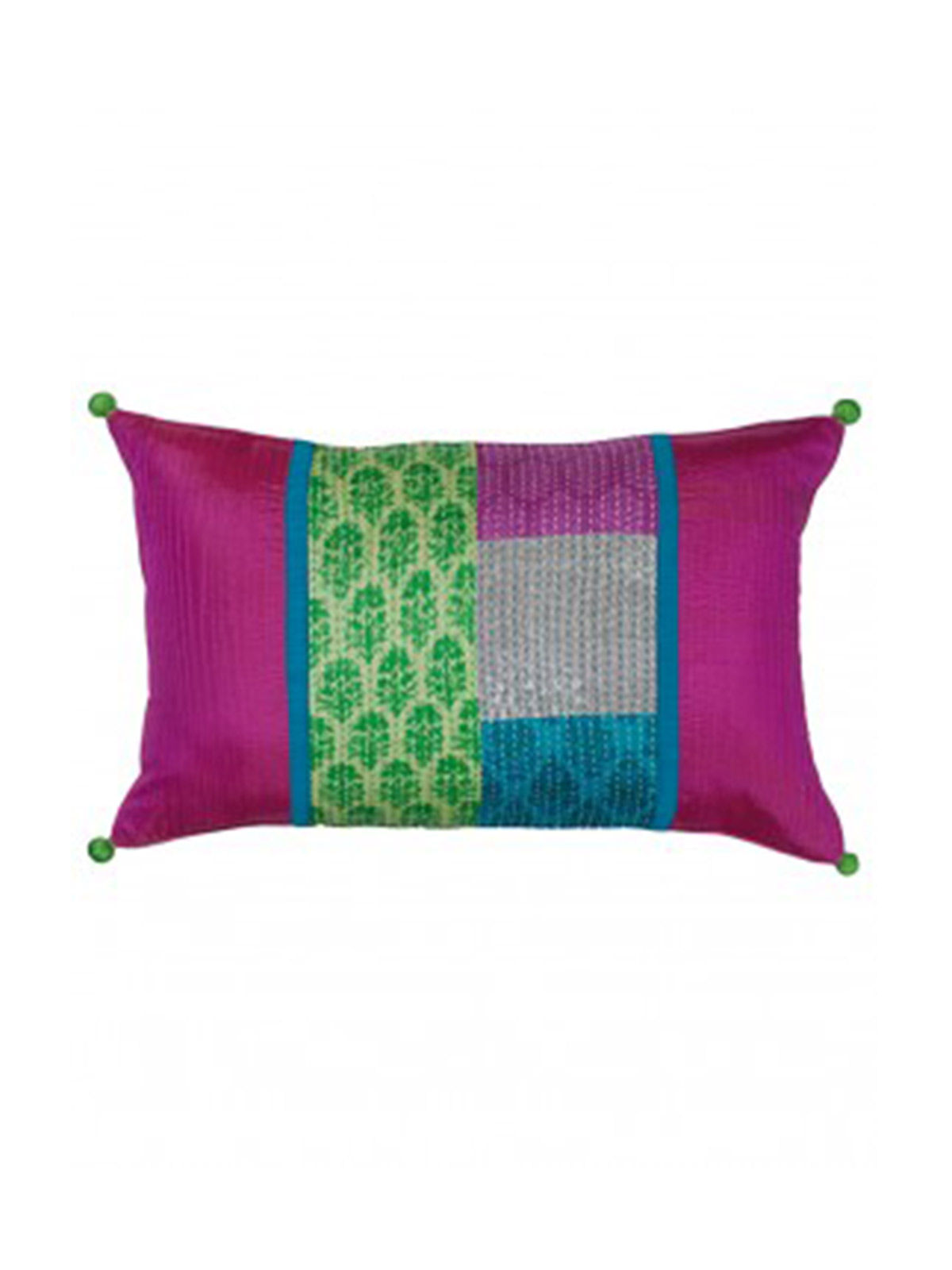 Pink Mid Patch Kantha  Block printed Cushion Cover