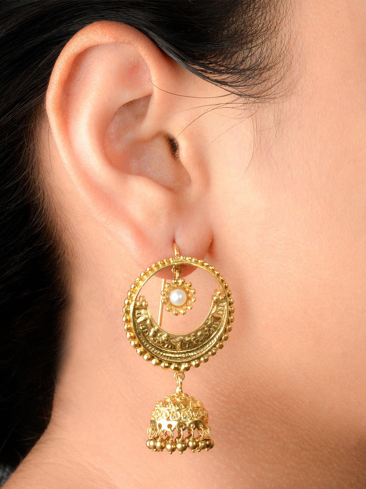 Gold Plated Silver Crecent Bali with a Jhumki