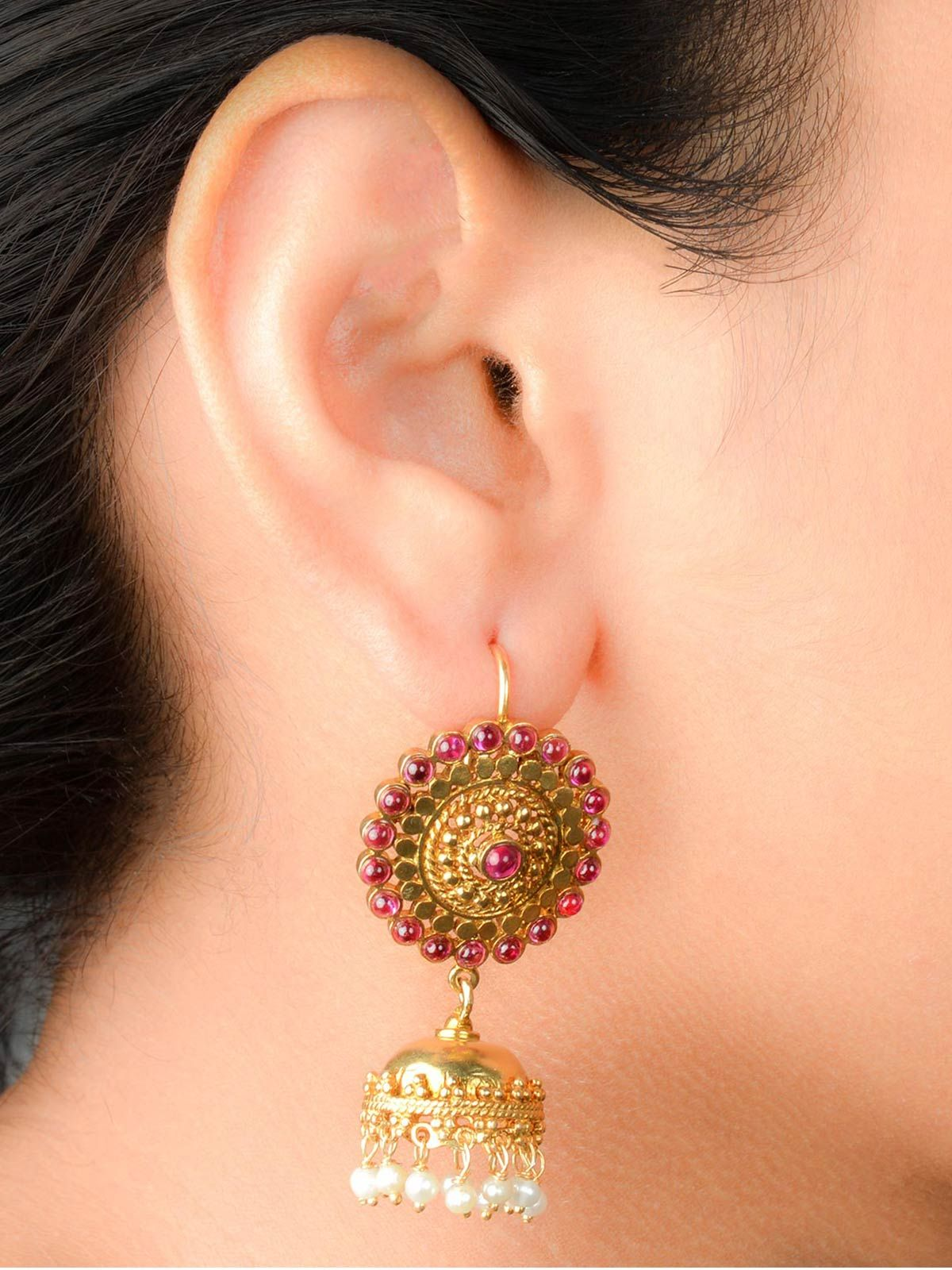 South Indian Style Gold Plated Silver Jhumki