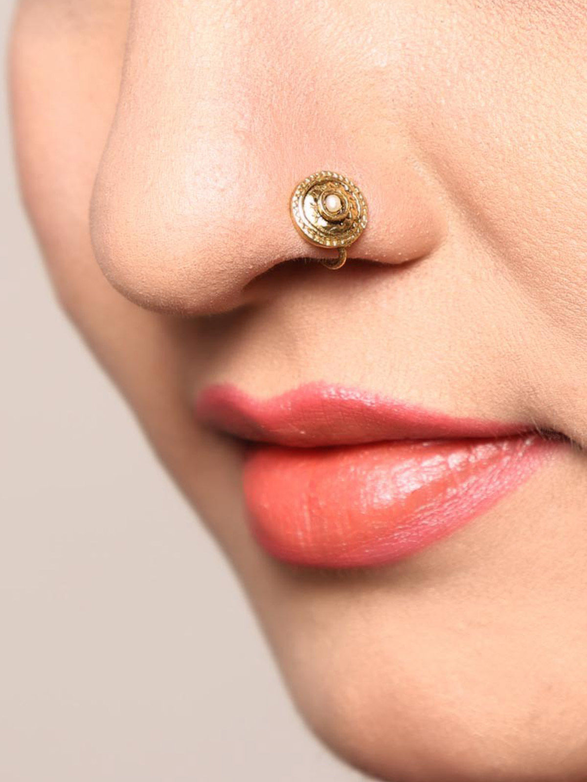 Silver Gold Plated Nose Pin