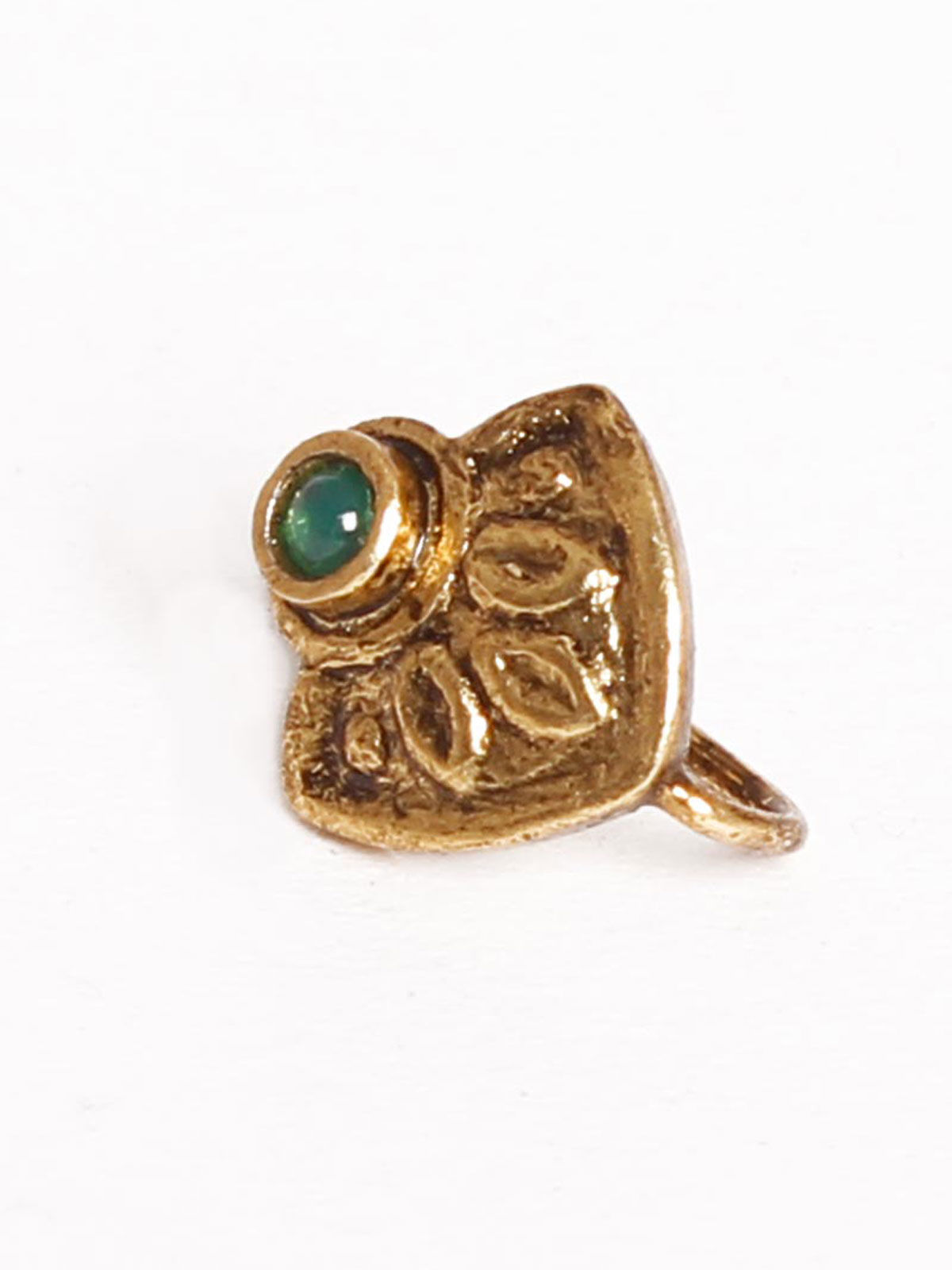 Silver Gold Plated Nose Pin with green pearl
