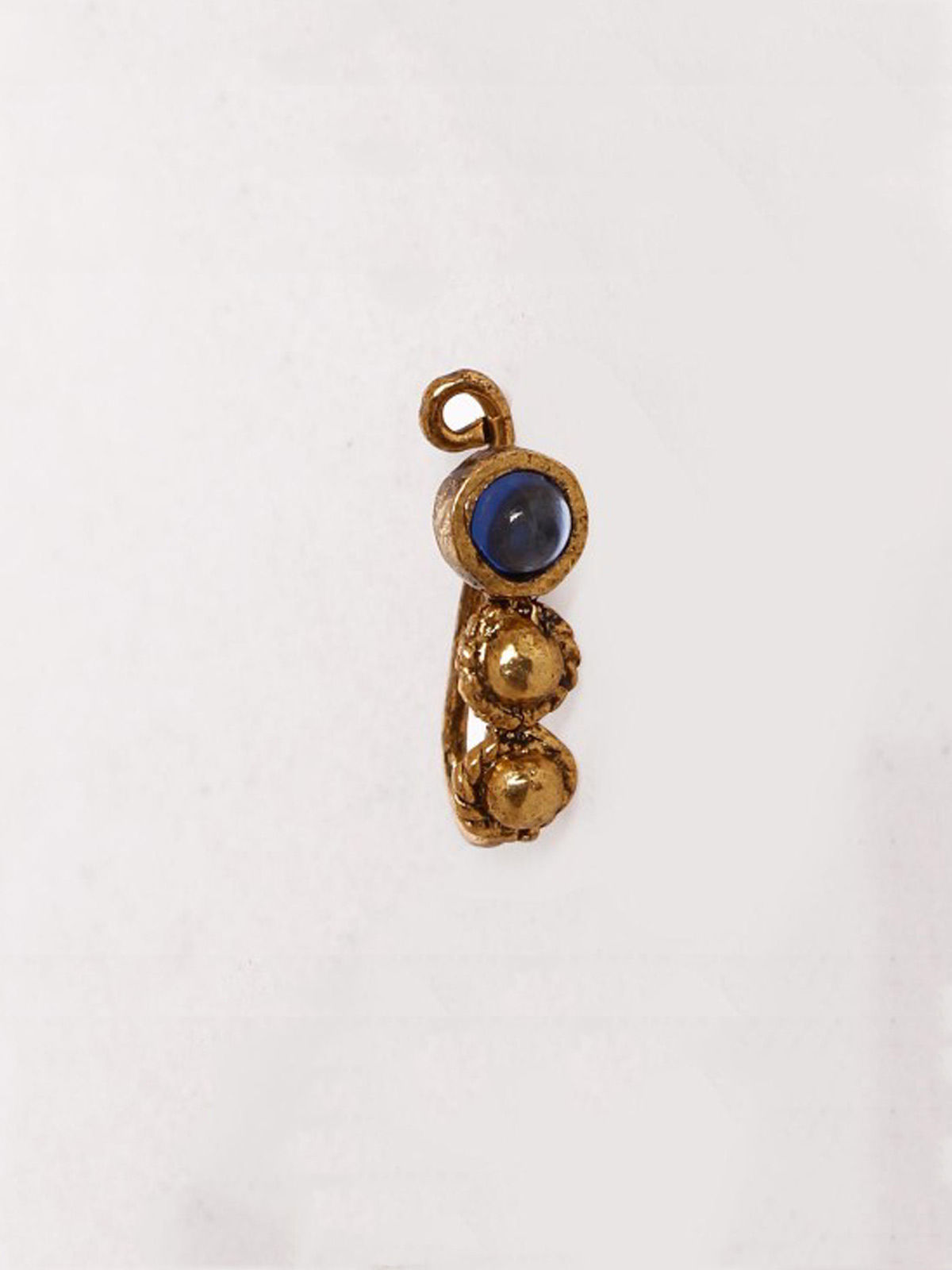 Blue Gold Tone Silver Nose Pin