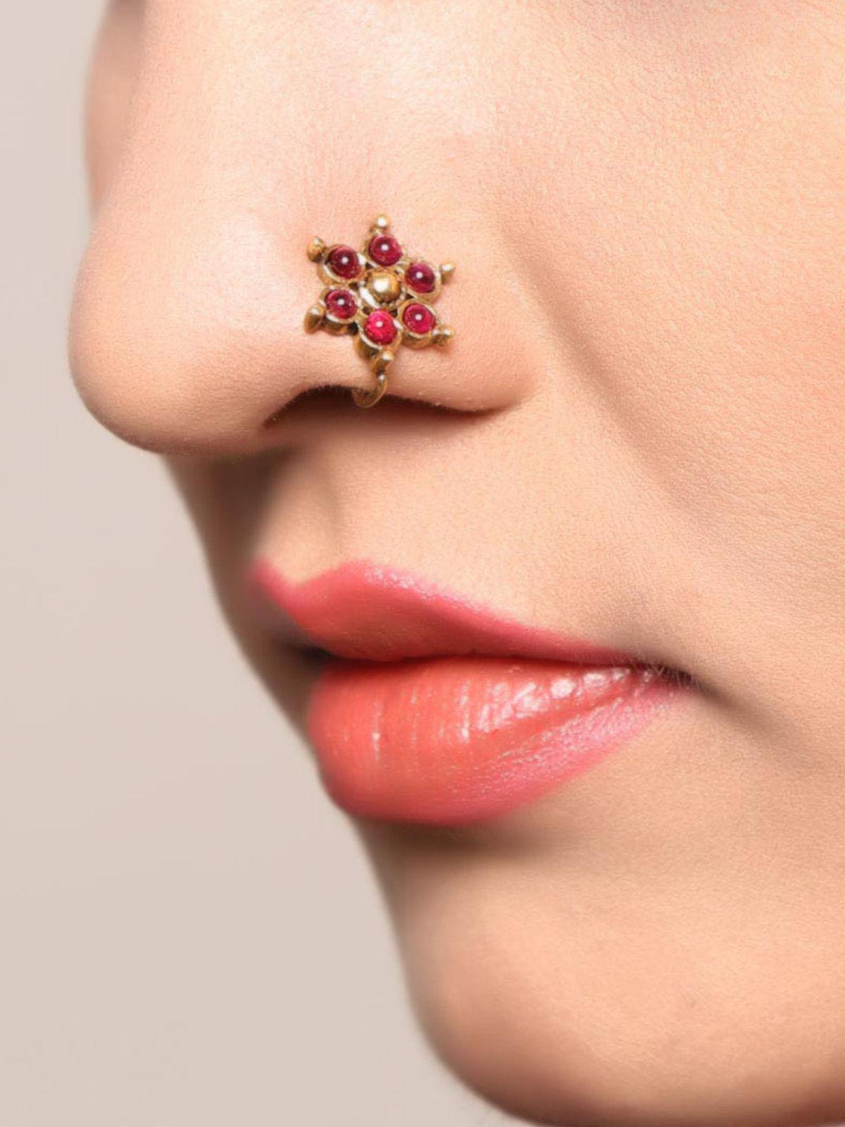 Six Petal Floral Nose Pin