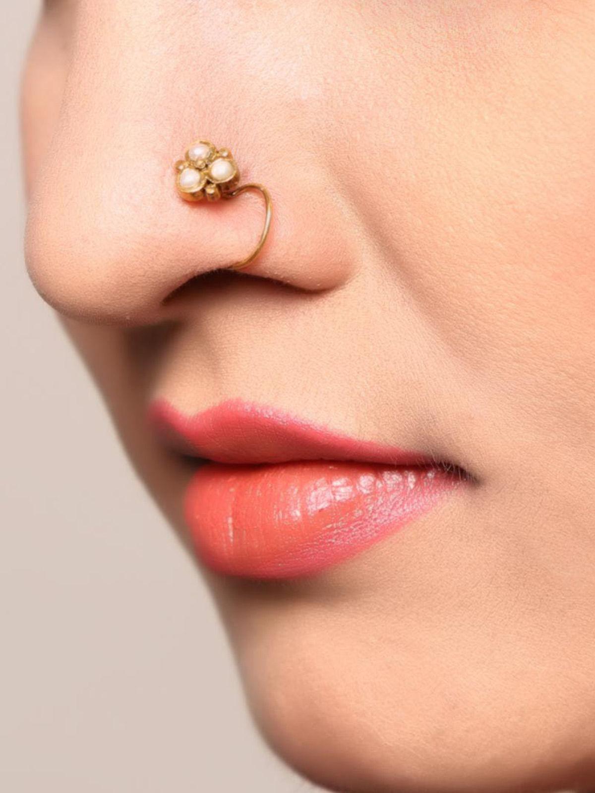Classic Gold Tone Pearl Silver Nose Pin