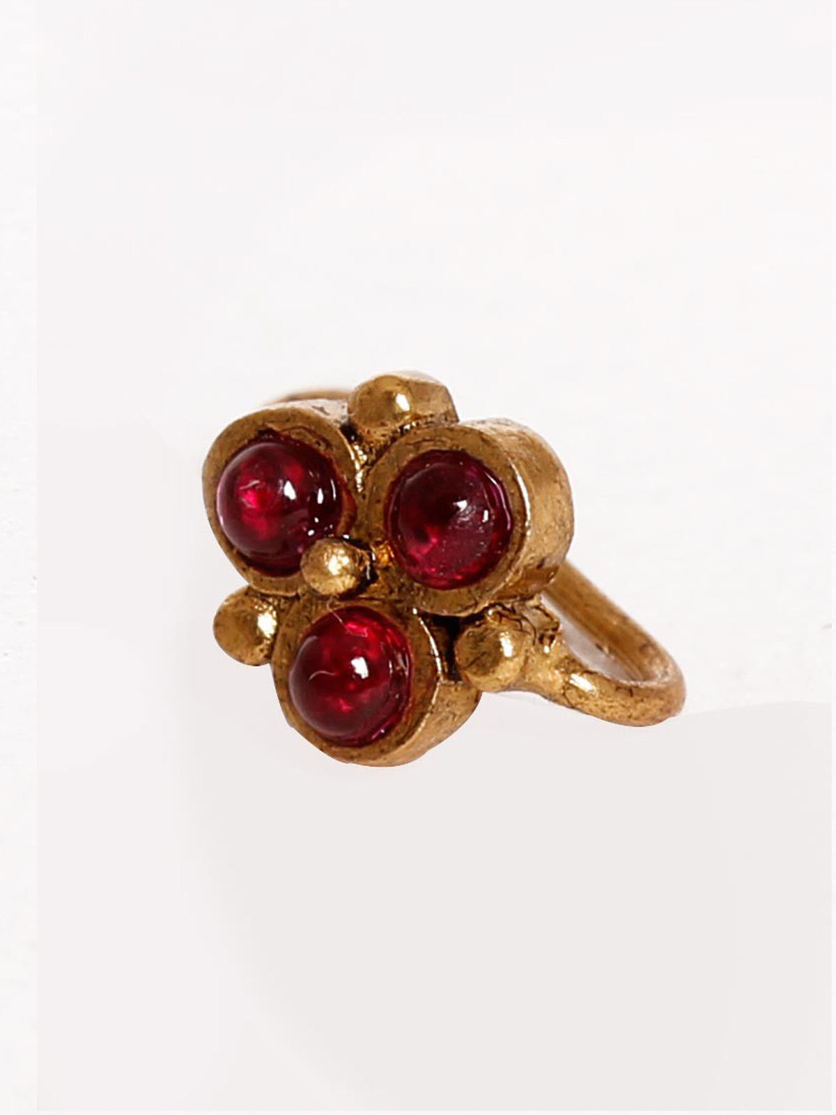 Silver Gold Plated maroon pearls Nose Pin