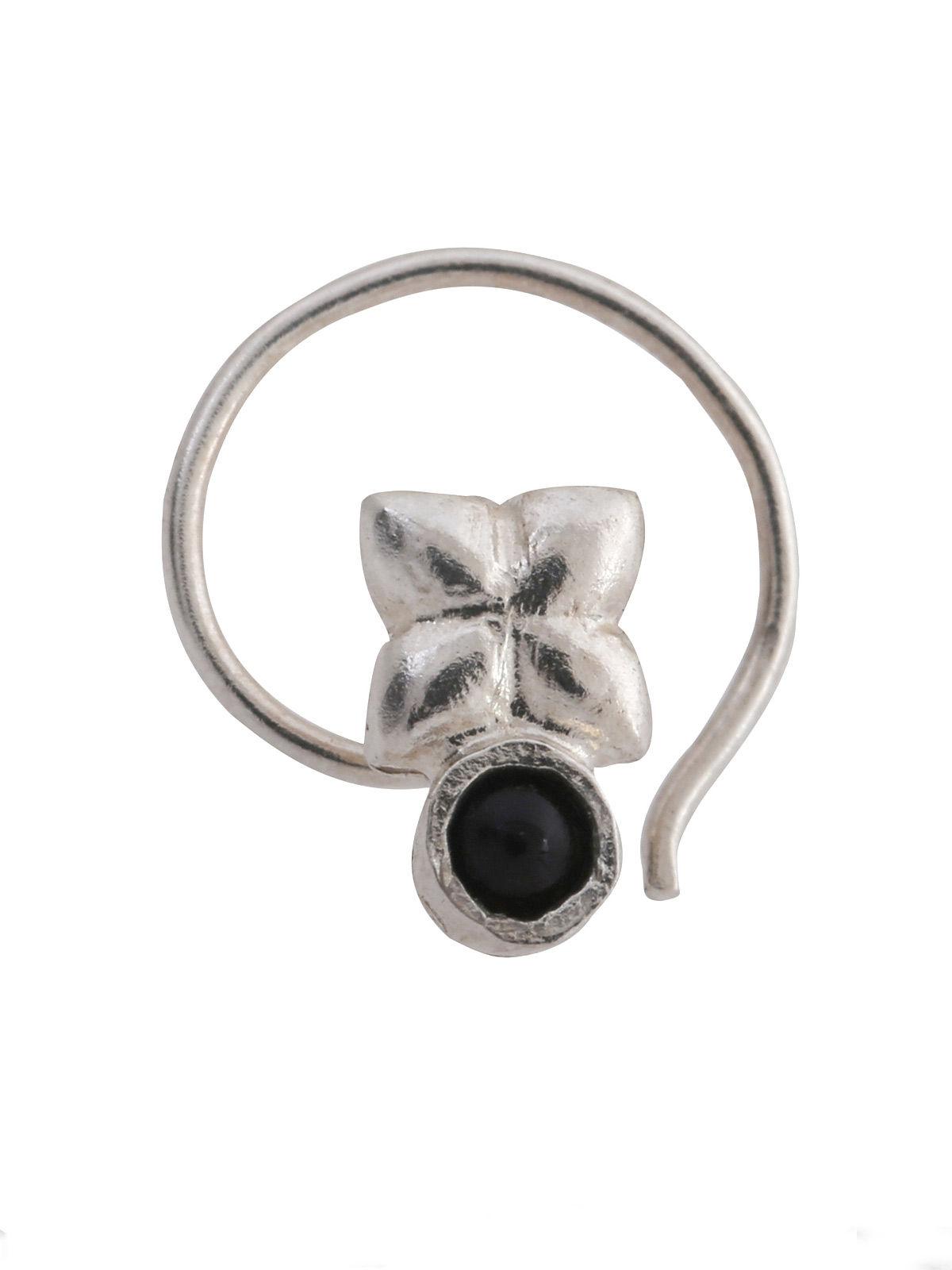 Black Silver Nose Clip with Floral Design