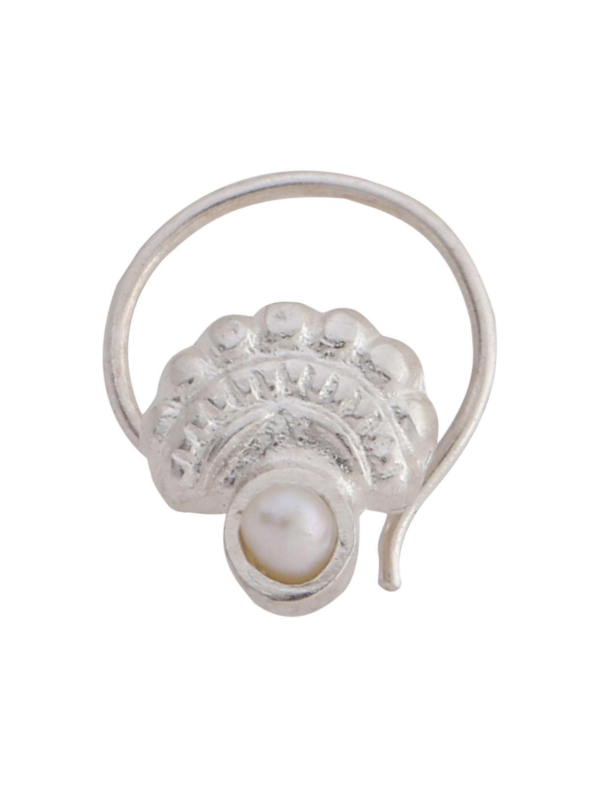 Classic Silver Tone Pearl Silver Nose Pin