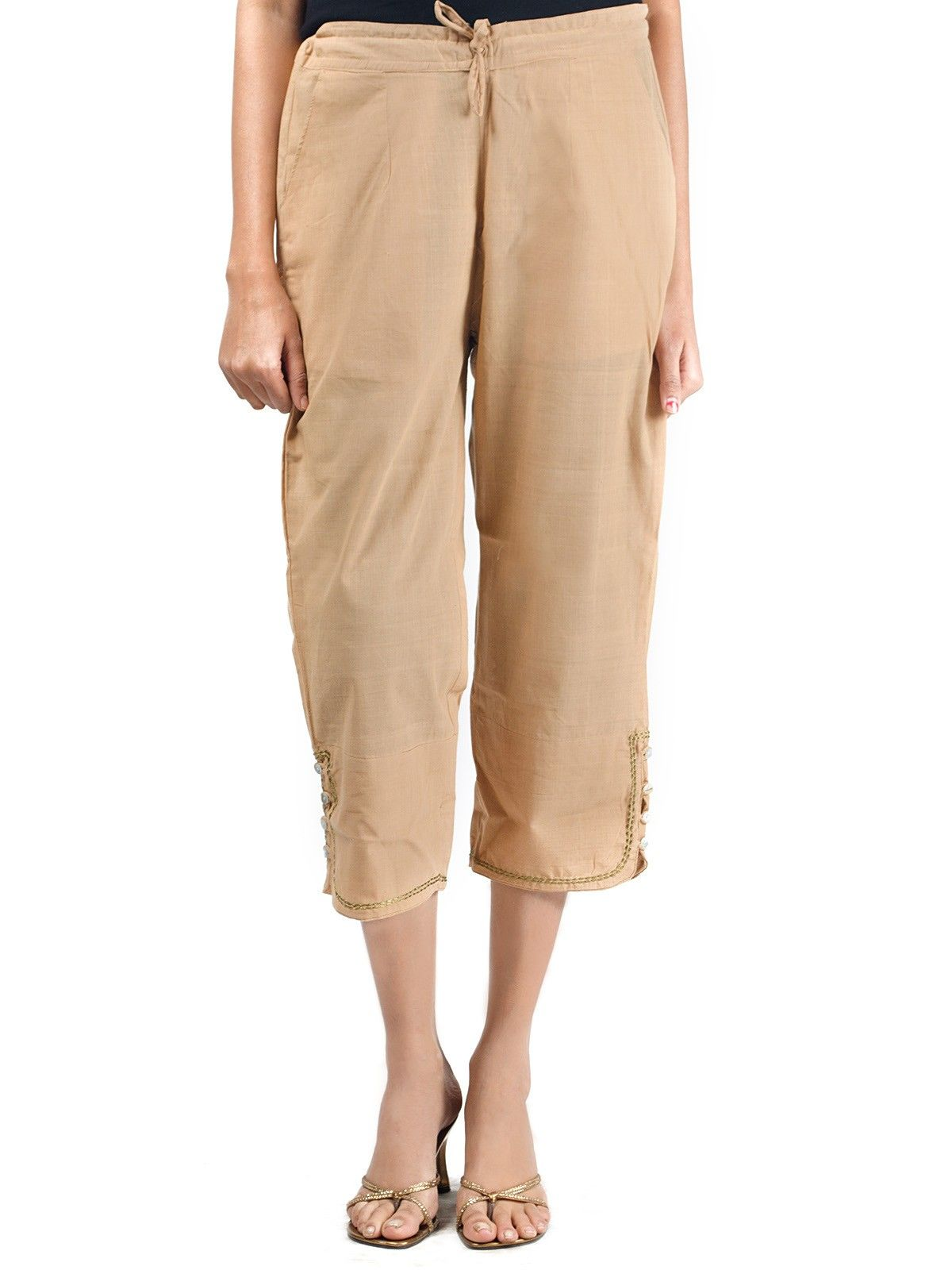 Mangalgiri Cotton Ankle Length Pants With Button Opening in Beige