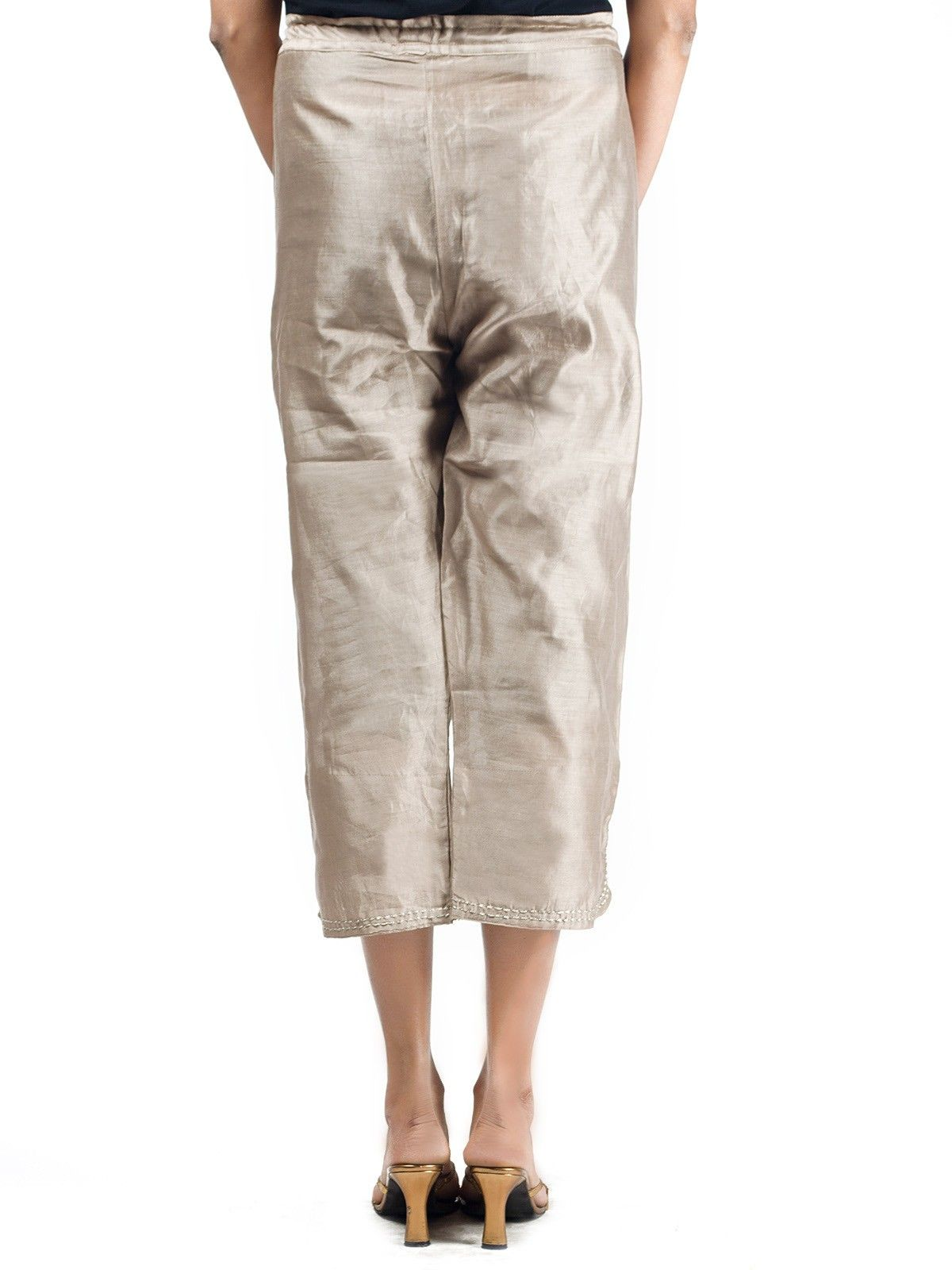 Chanderi Ankle Length Pants With Button Opening in Brown