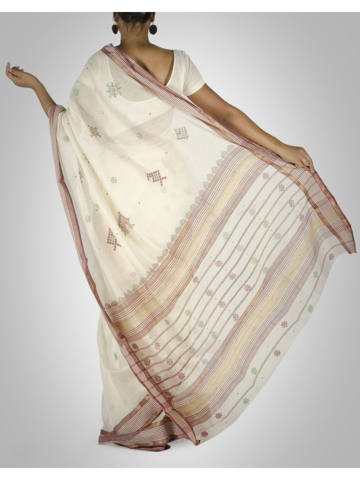 Off-White Maheshwari Saree