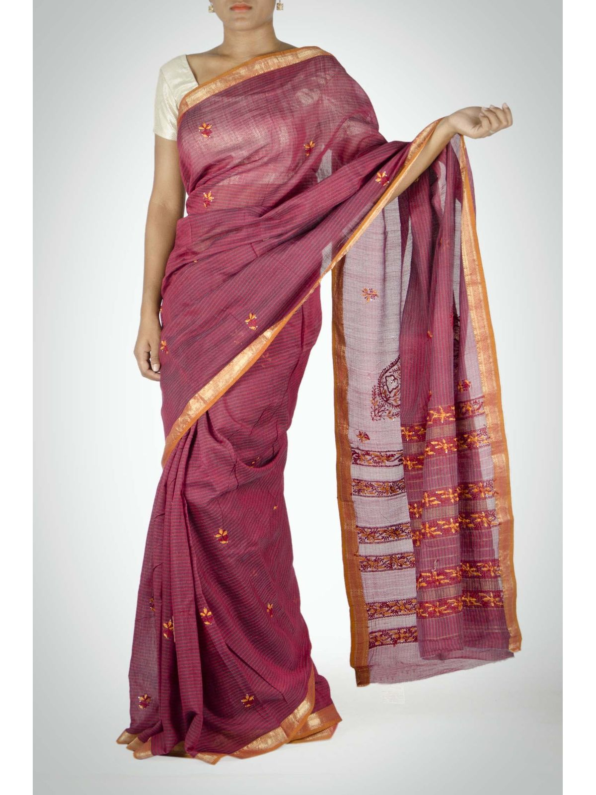 Maroon and Gold Maheshwari Saree