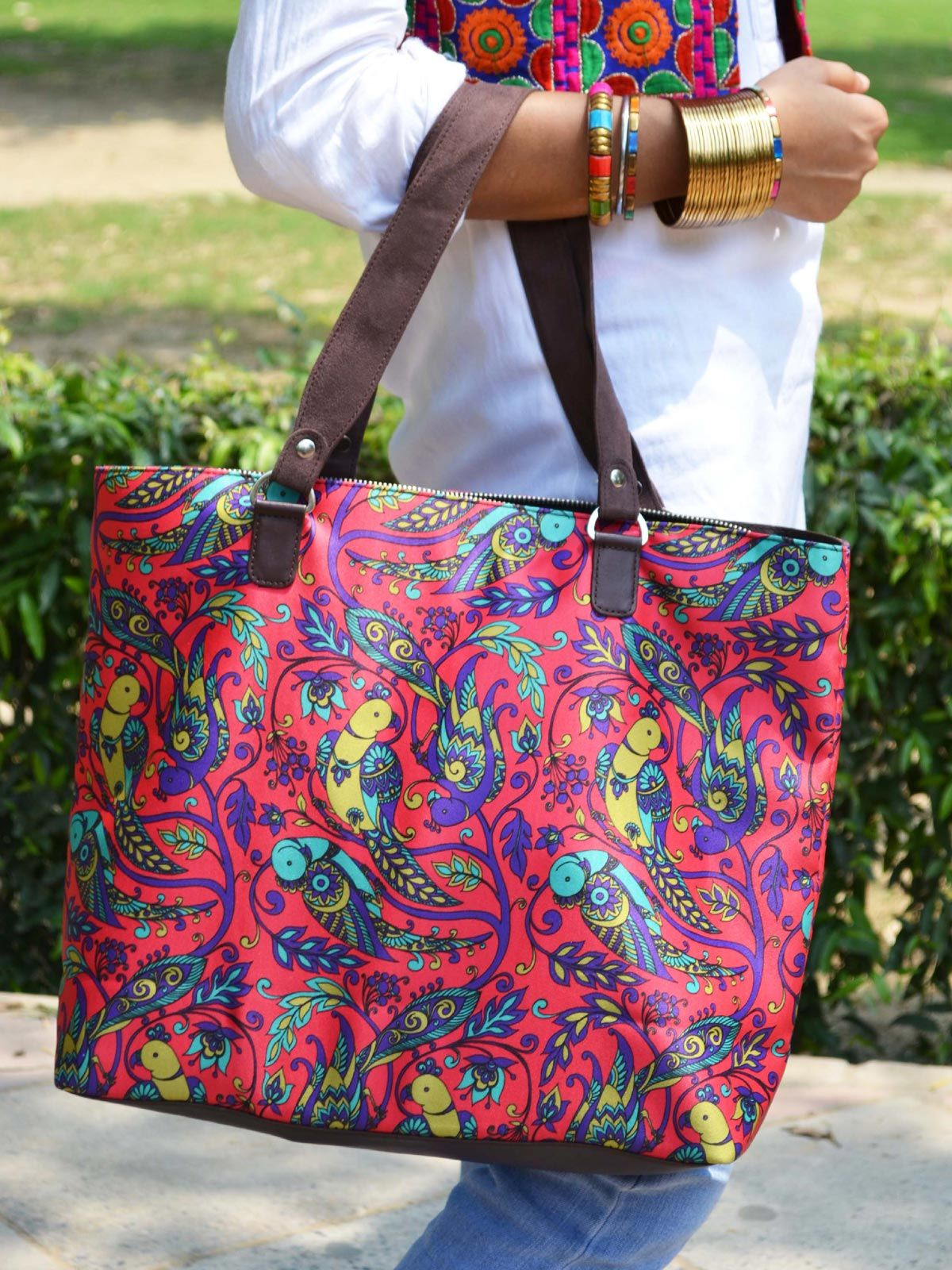 Parrot Printed Handbag