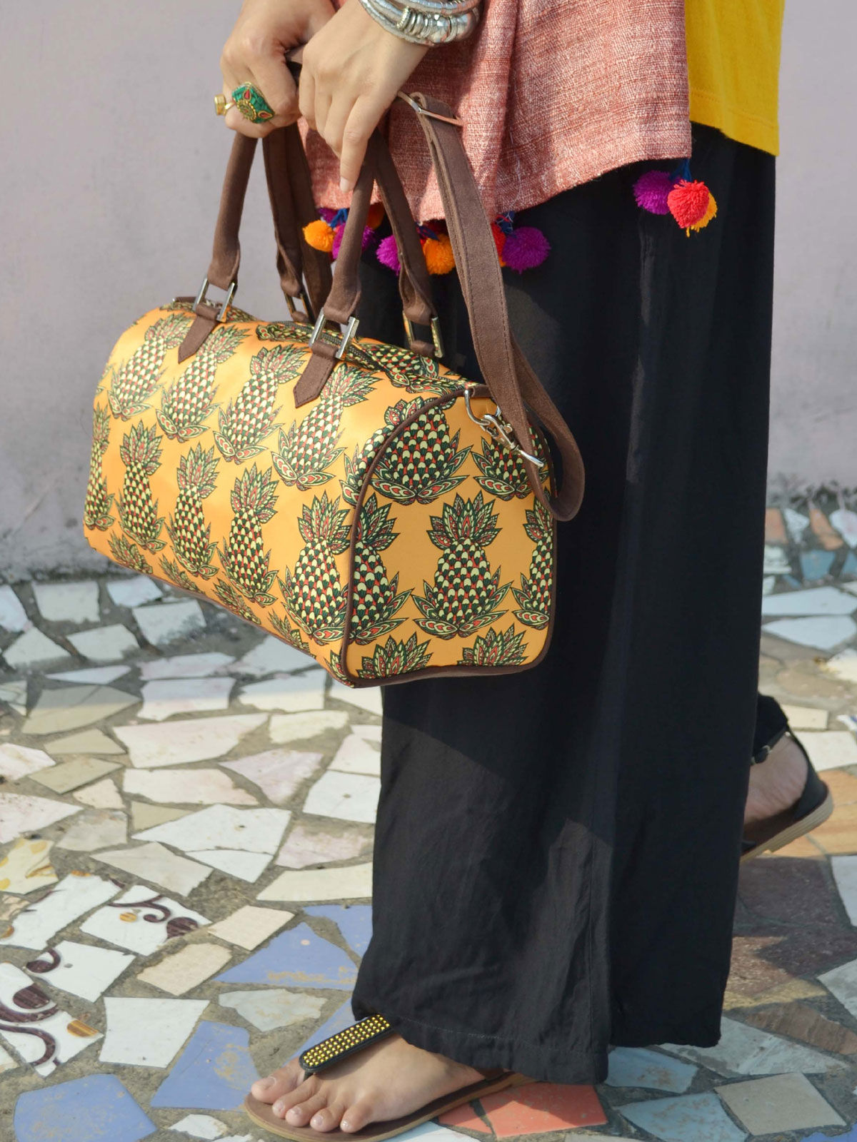 Pineapple Printed duffle bag