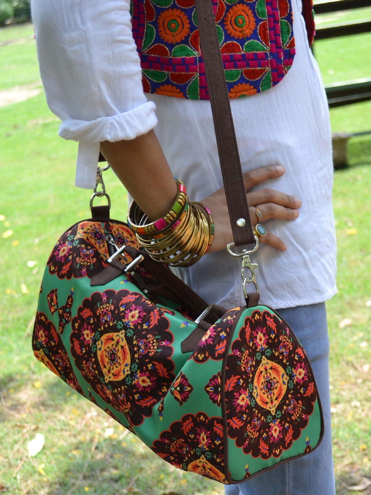 Oriental Printed duffle bag