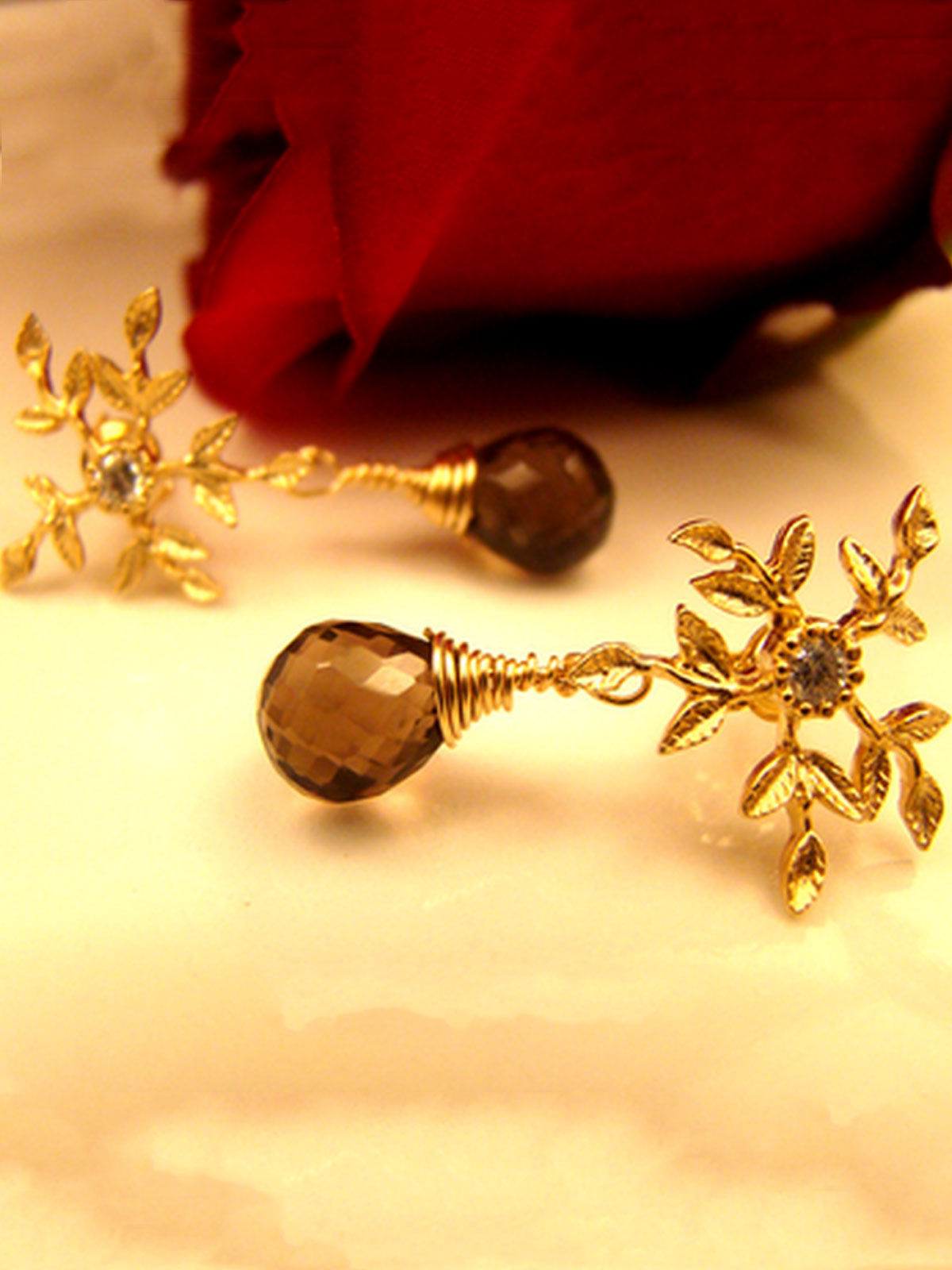 Snowflakes with Smoky quartz earrings
