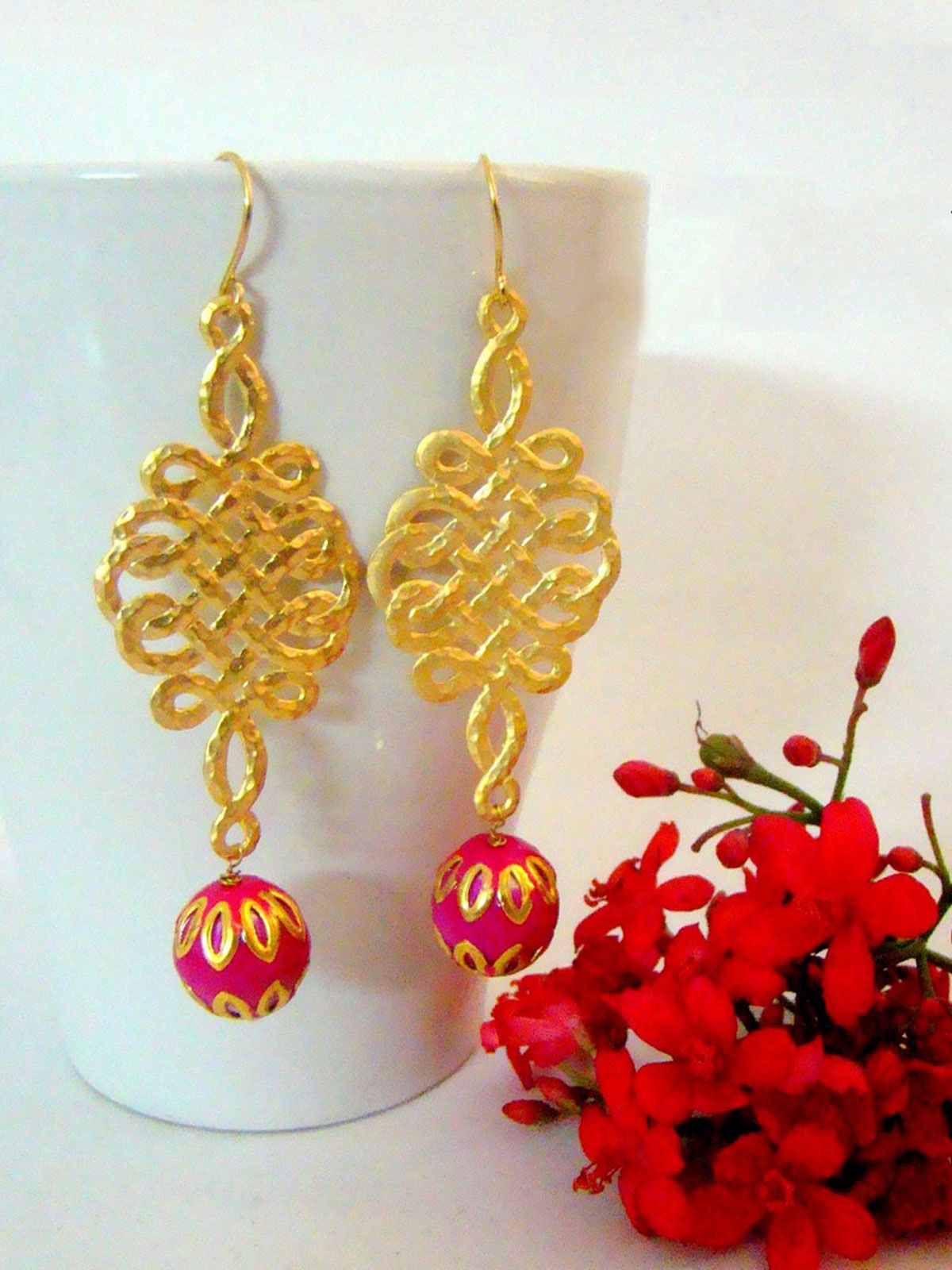 Oriental Pink Long Earrings
