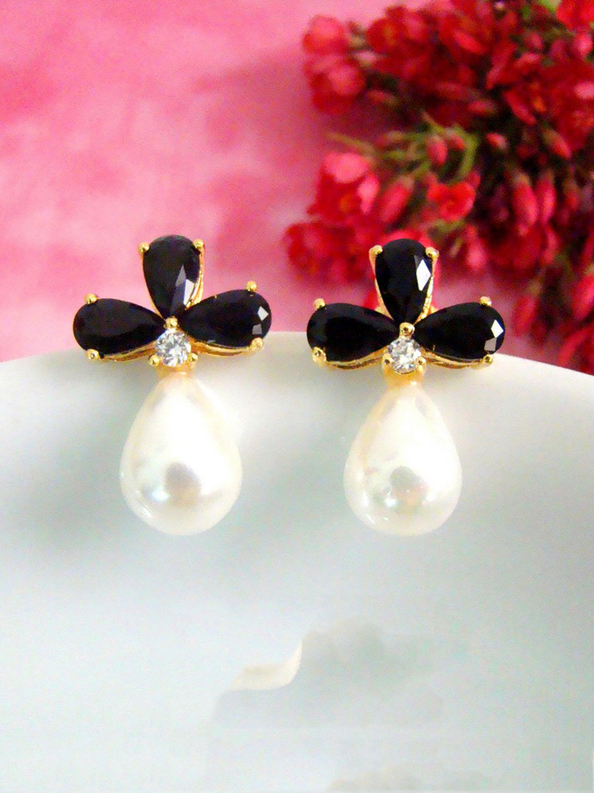 Black Flower and Pearl Earrings