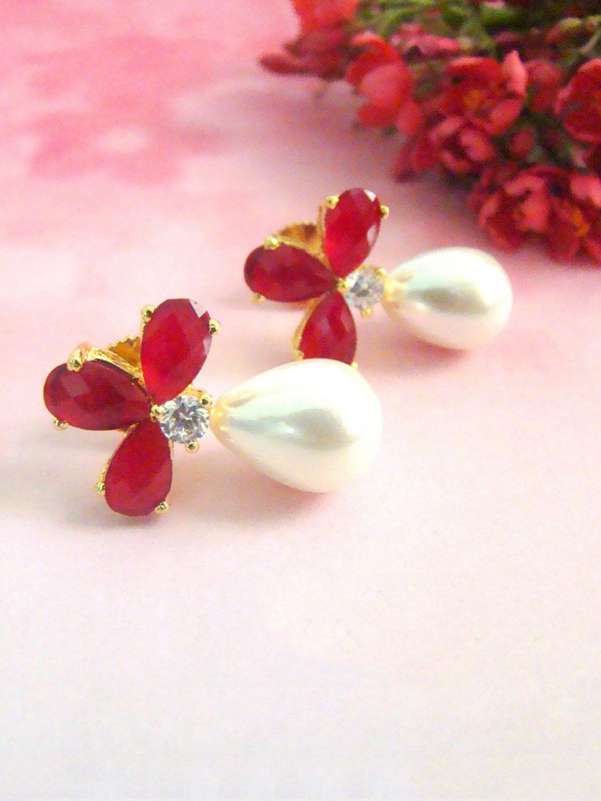 Red Flower and Pearl Earrings