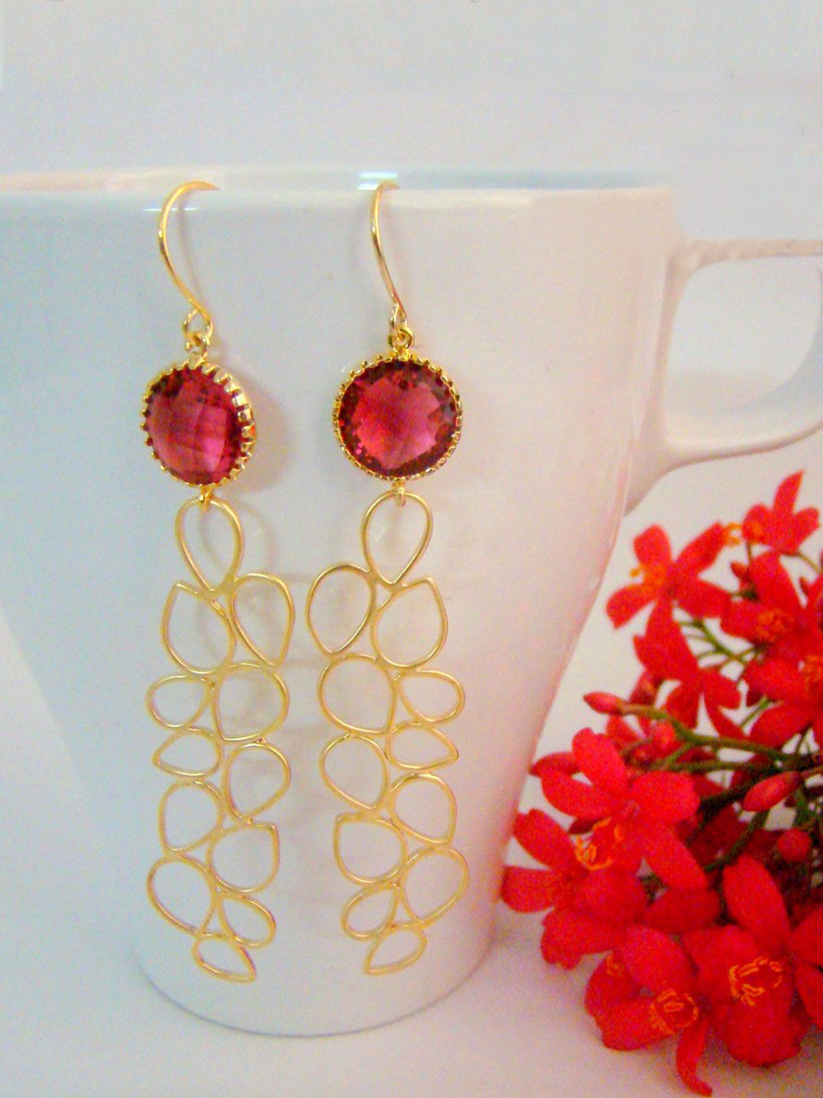 Glamlook Long Pink Earrings