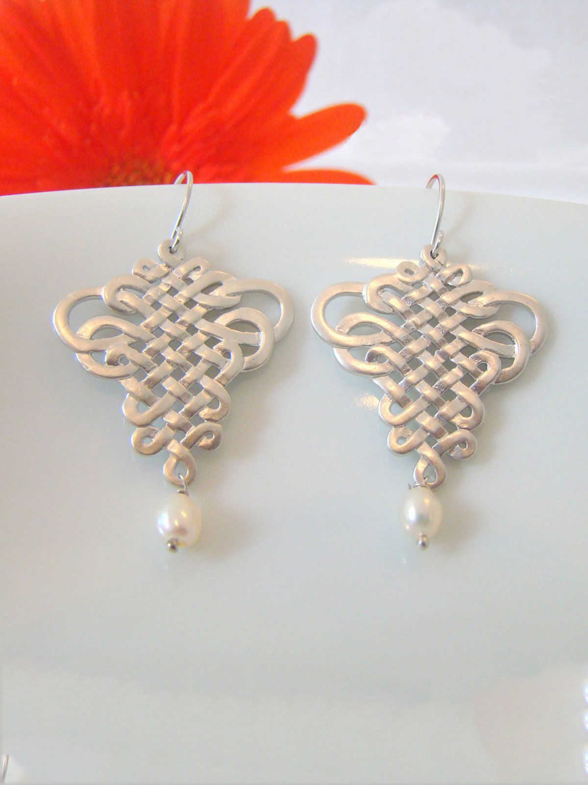 Silver Oriental Earrings
