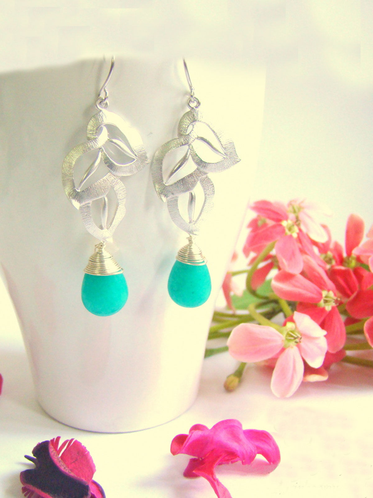 Leaf with Teal Drop Earrings