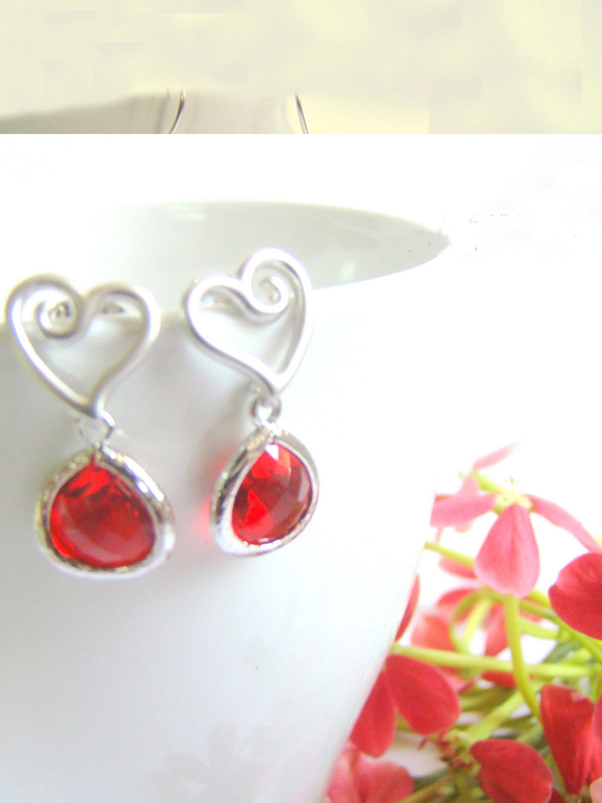 Silver Heart with Red Drop earrings