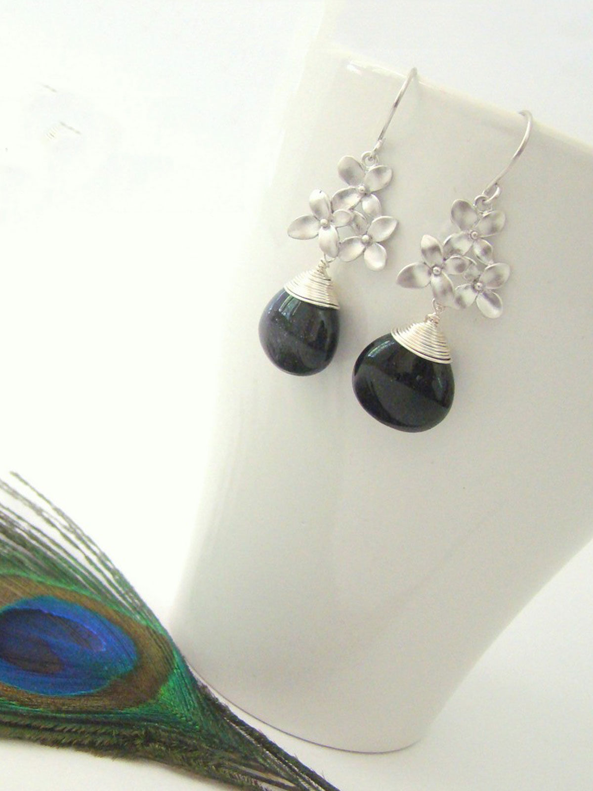 Black Flower Blossom Earrings