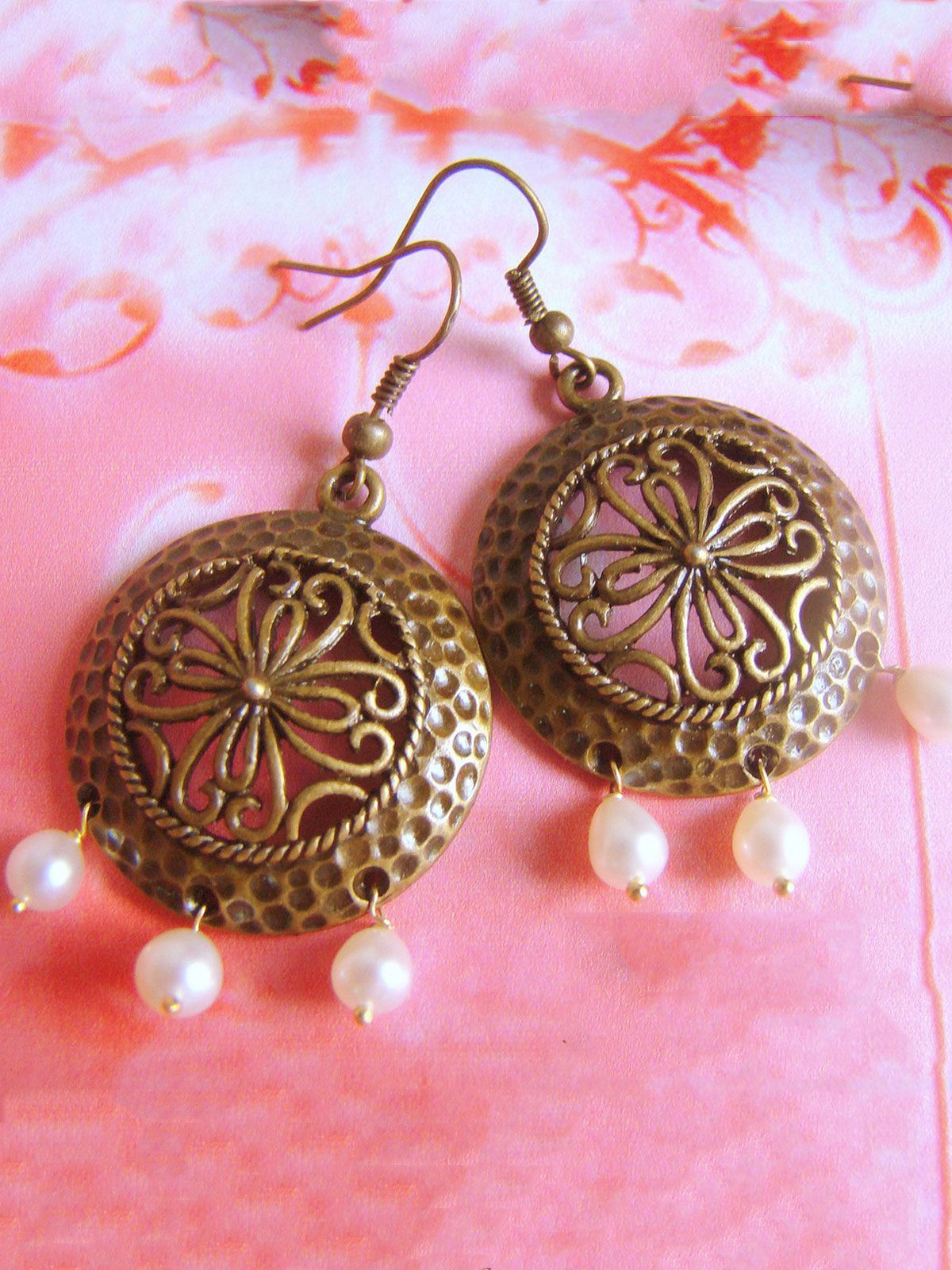 Antique Brass round  earrings