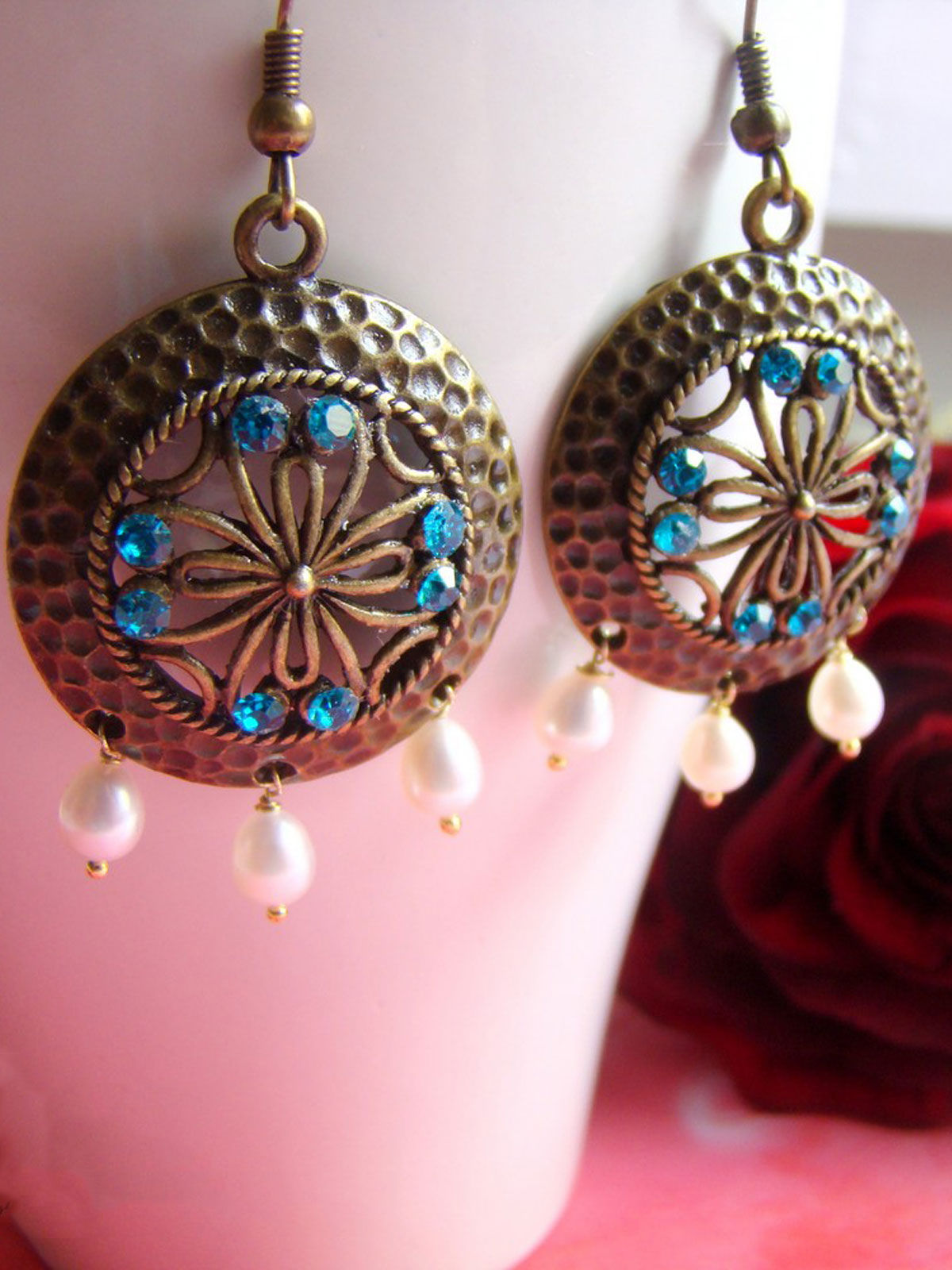Round  brass with blue highlights earrings