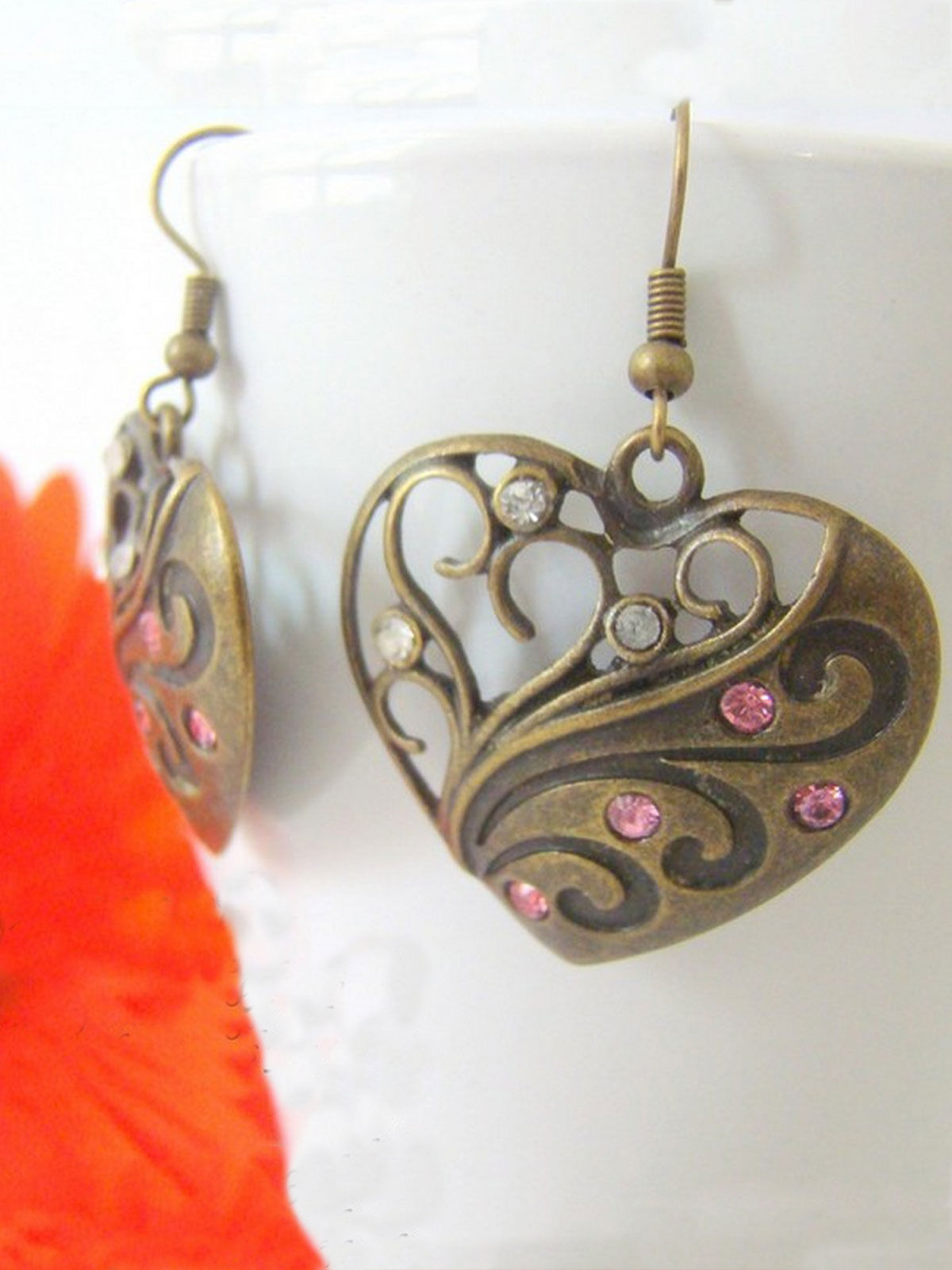 Pink-White Heart Brass earrings