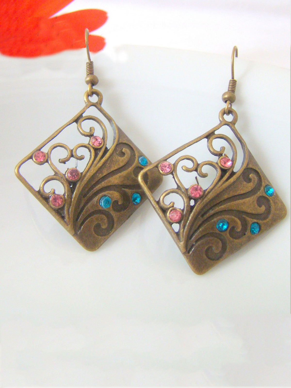 Pink-Blue Kite Brass earrings