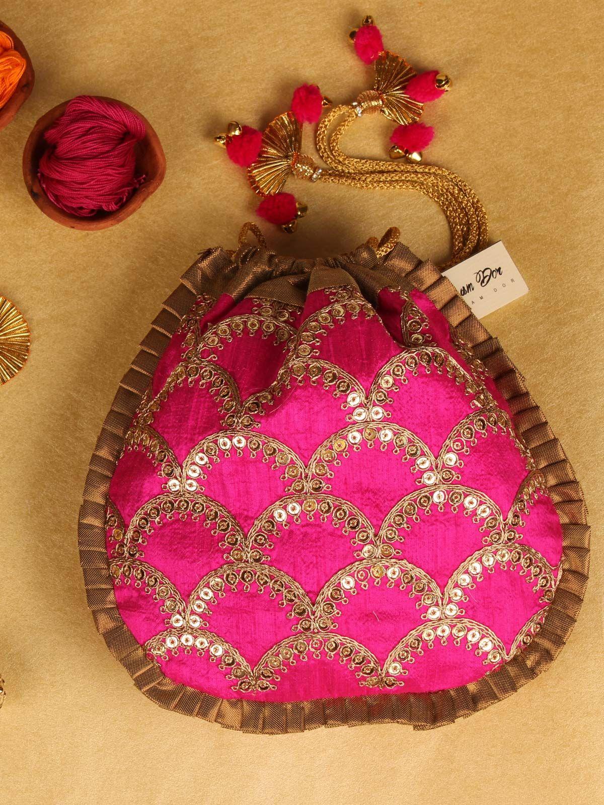 Utsav Rani Pink & Gold Potli