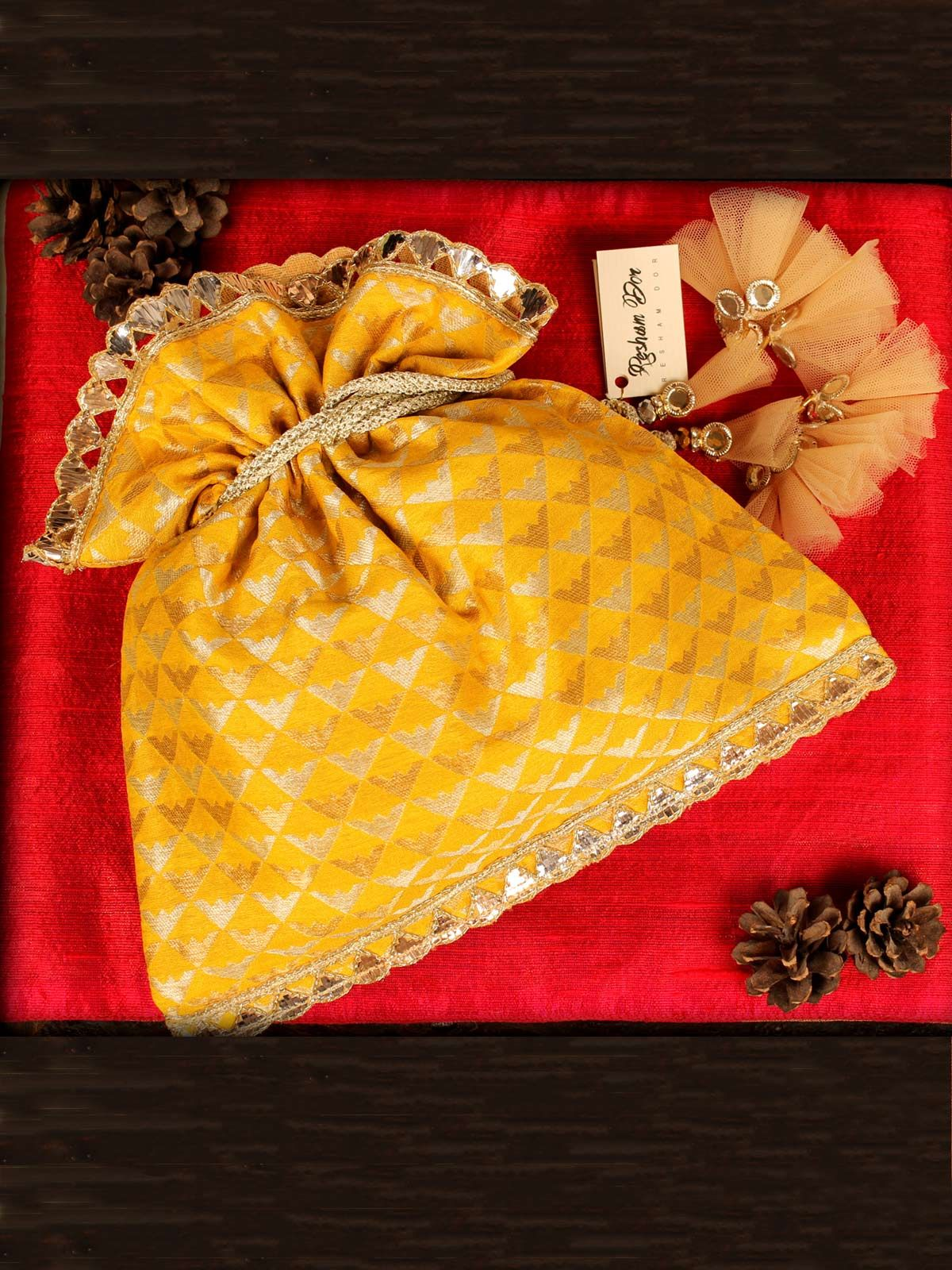 Basant Yellow, Silver & Gold Potli
