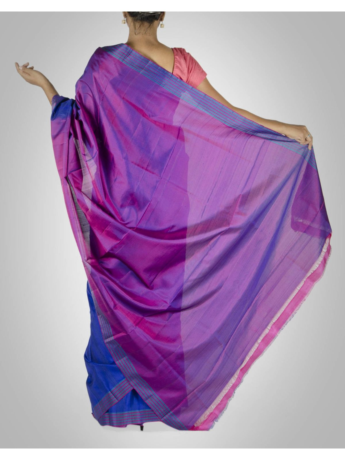 Royal Blue and Purple Silk Saree