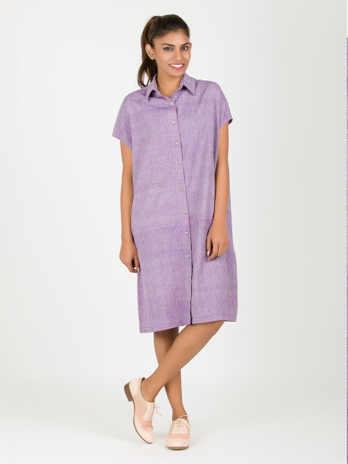 Purple Square Khadi Dress