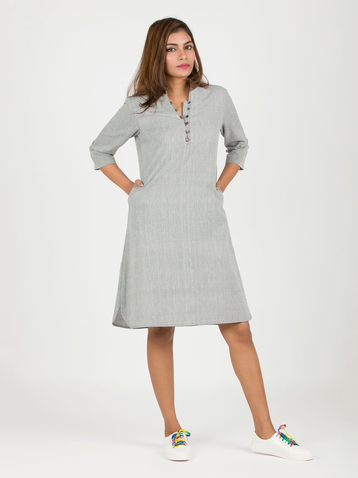Grey Loop Khadi Dress
