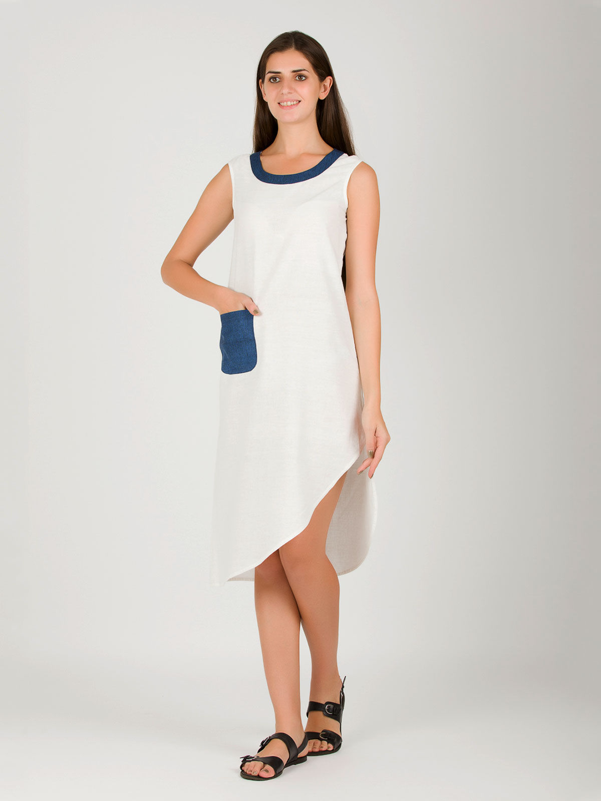 Blue Slanting White Khadi Dress