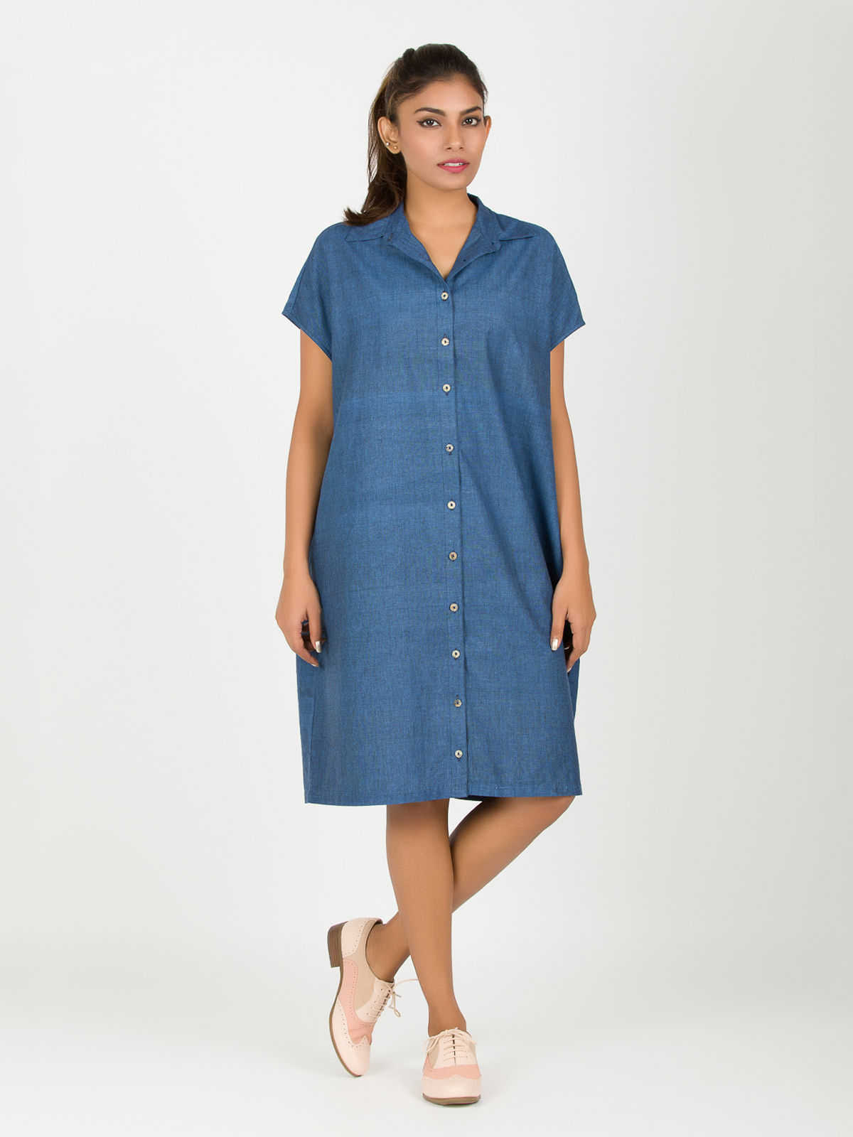 Blue Square Khadi Dress