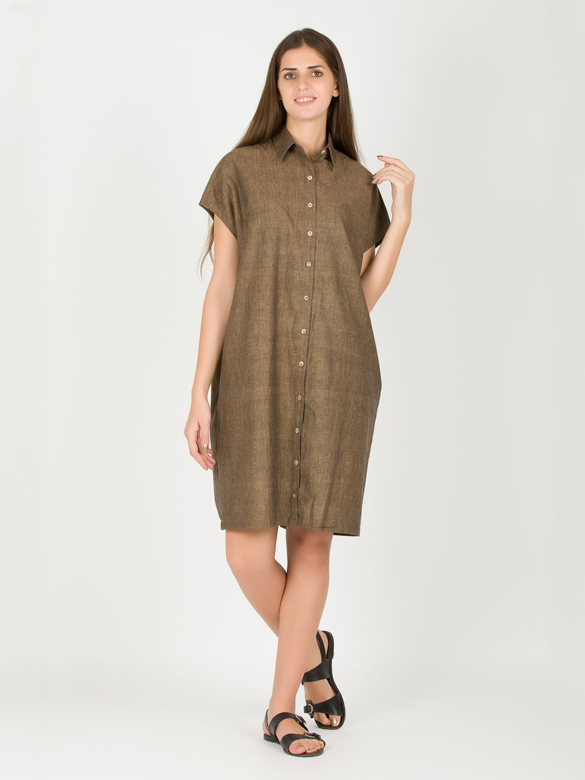 Brown Square Khadi Dress