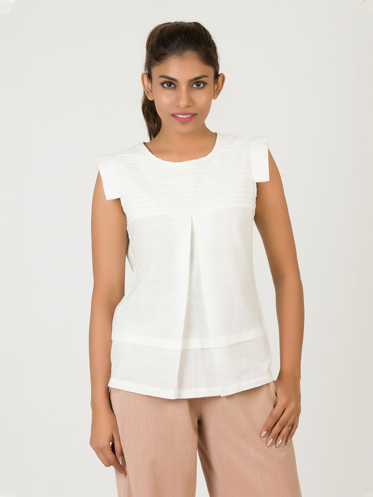White Khadi Pintucks Top