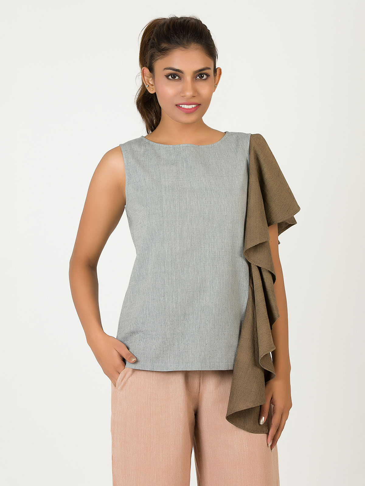 Grey Single Frill Khadi Top