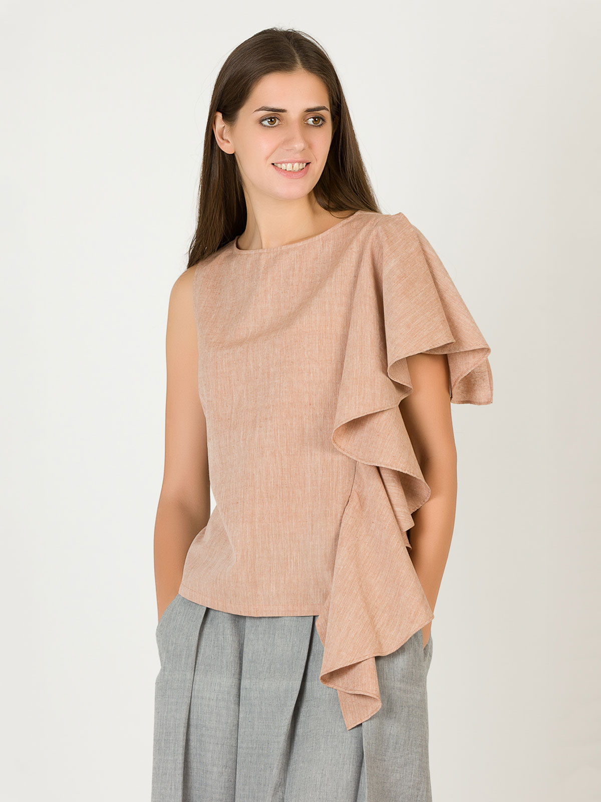 Beige Single Frill Top
