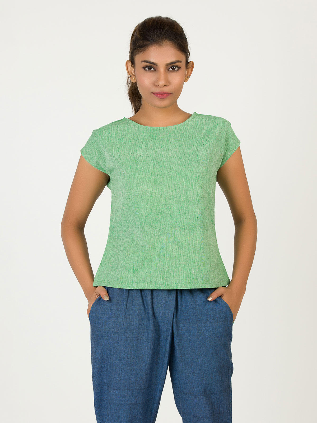 Light Green Extended Shoulder Khadi Top