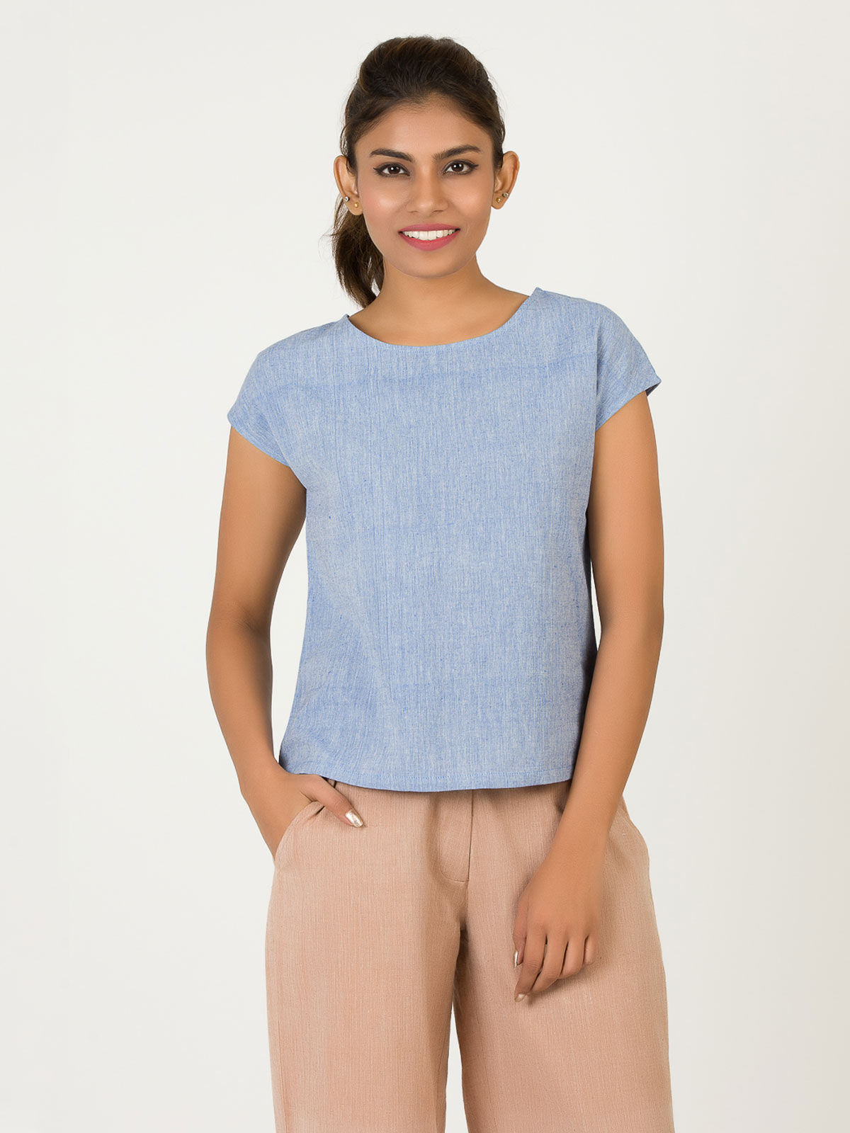 Light Blue Extended Shoulder Khadi Top