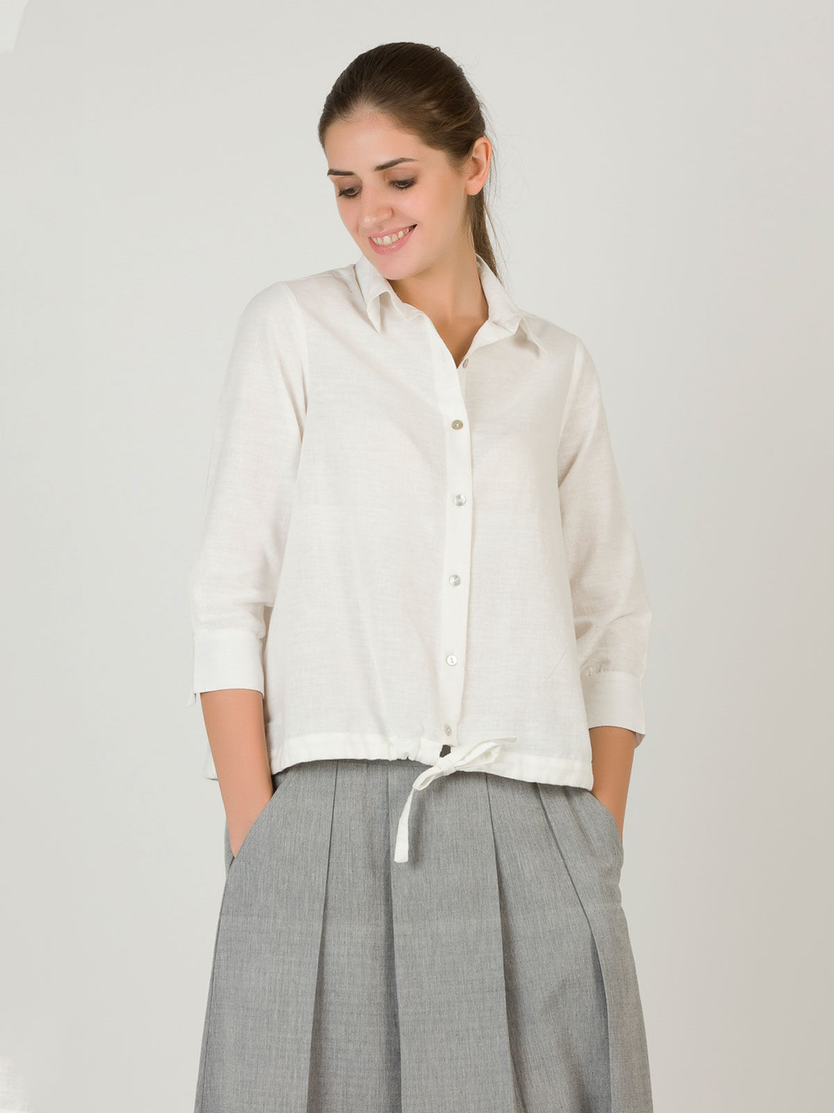 White String Khadi Shirt